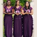 2017 Beautiful Cheap Purple Bridesmaid Dresses With Cap Sleeves Long Chiffon Pleat Plus Size Wedding Party Brautjungfern Kleid