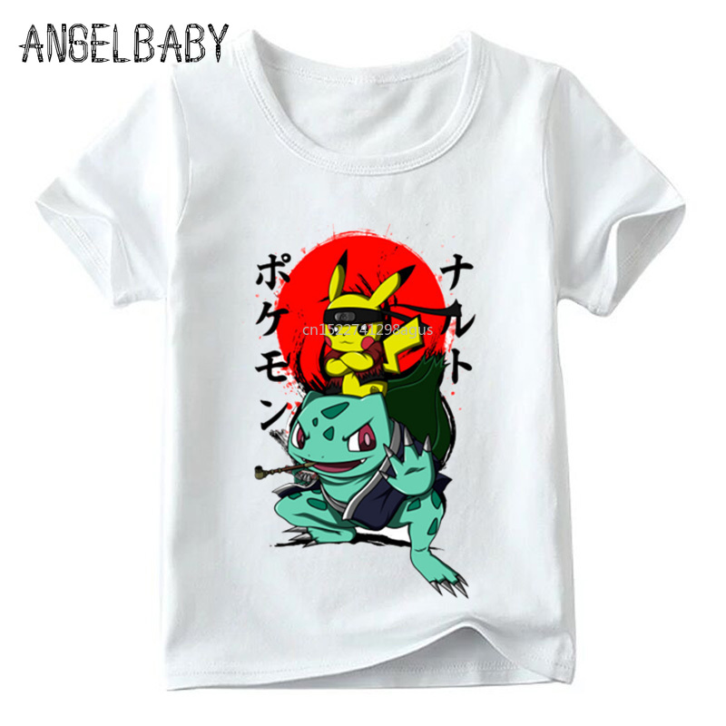 Children Naruto Pikachu In Thor Armor Anime Pokemon Go T Shirt Baby Boys/Girls Summer Top T Shirts Kids Casual Clothes,ooo5069
