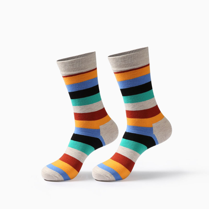 New Fashion Men Socks Colorful Stripe Socks Soft Warm Happy Socks Breathable Combed Cotton Funny Crew Socks Calcetines Hombre