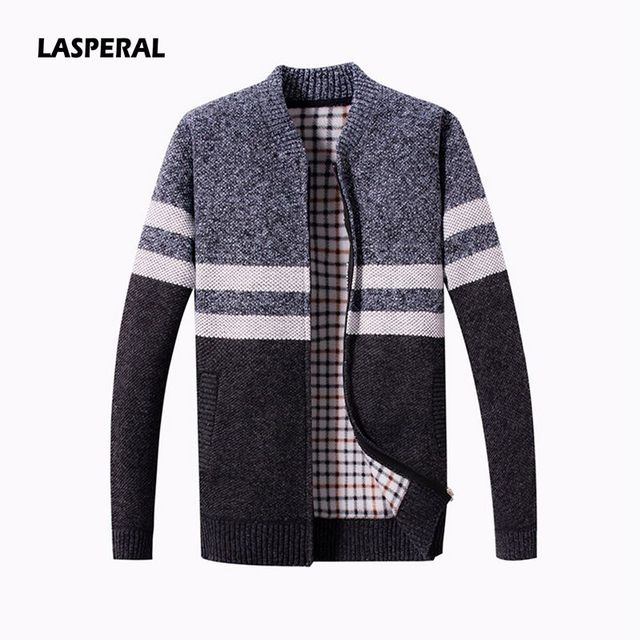 LASPERAL 2019 New Fashion Men Wool Cardigan Sweaters Men S Thick Stand  Collar Pullover Warm Long Sleeve Slim Solid Mens Sweaters 8ad32d588