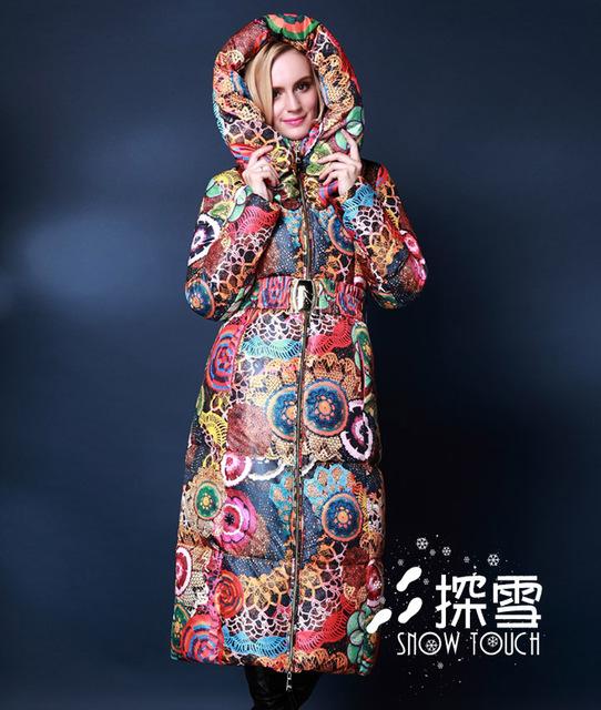 Más el tamaño 5XL X-abrigo largo Abajo Chaquetas de Las Mujeres Abajo Cubre 2015 invierno Mujer Chaqueta 90% de Pato Abajo Cubre espesamiento delgado de la manera Outwear