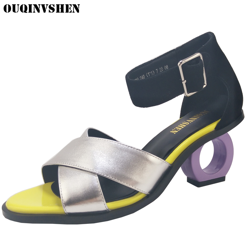 OUQINVSHEN Mixed Colors High Heels Sandals Round Toe Open Toed Summer Women Sandals Fashion Brand Strange Style Casual Sandals