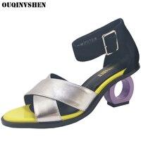 OUQINVSHEN Mixed Colors High Heels Sandals Round Toe Open Toed Summer Women Sandals Fashion Brand Strange