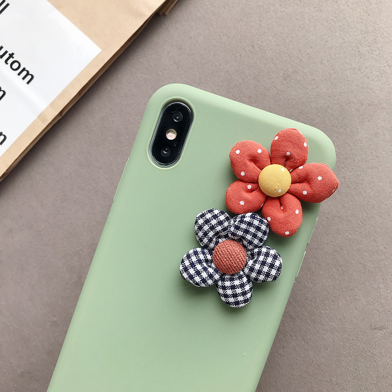 Image 5 - 3D Artificial Cloth Flower Phone Case For iPhone 8 7 6 6s Plus Cover For iPhone X XS Max XR Fashion Floral DIY Soft Back Cover-in Fitted Cases from Cellphones & Telecommunications