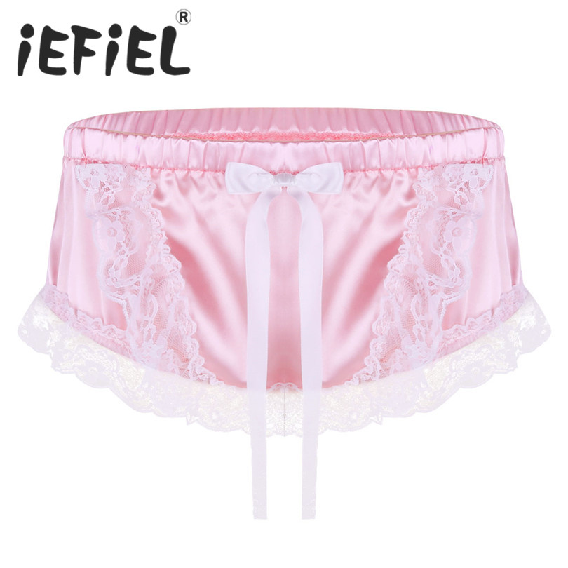 iEFiEL Sexy Mens Lingerie Floral Lace Shiny Soft Satin Ruffled Lace Cute Bowknot Briefs Underwear Triangle Panties Underpants