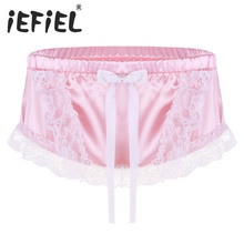 2bde6aa5ea iEFiEL Sexy Mens Lingerie Floral Lace Shiny Soft Satin Ruffled Lace Cute Bowknot  Briefs Underwear Triangle