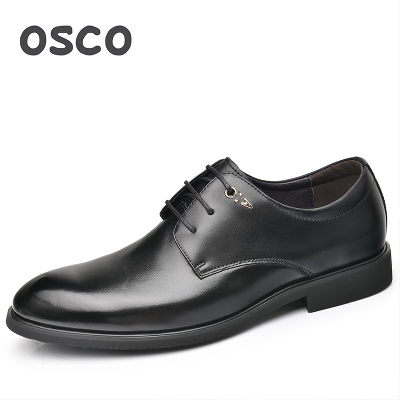 OSCO Office Work Shoes Men Trend Wild Male Shoes Spring Autumn Business Casual Dress Shoes Men Genuine Leather Lace-up Oxfords osco men shoes spring autumn genuine leather business casual shoes round toe slip on comfortable low shoes office work shoes
