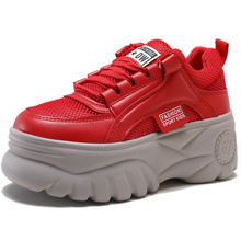 Women Sneakers 2019 Autumn New Fashion Mesh Leather Breathable Running shoes Ultralight Pink Red Platform Casual