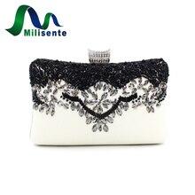 Milisente 2017 Neue Ankunft Abendtasche Frauen Blume Hochzeit Kupplungen Weiß Perlen Taschen Party Clutch Designer-handtaschen