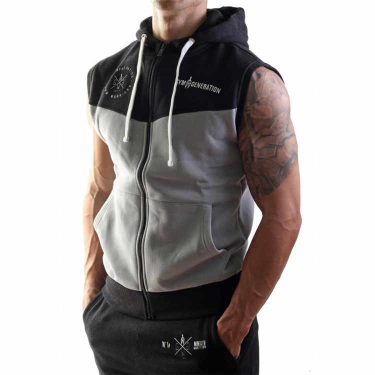 5828d7da ... Maoxzon Men's Loose Zipper Cardigan Fitness Hooded Tank Tops Boys  Casual Active Muscle Gymnasium Hoodies Sleeveless ...