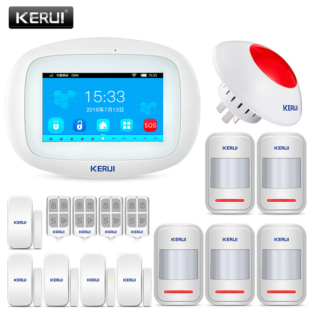 Best Offers KERUI K52 Wireless Burglar Security home Wifi gsm alarm system Android ios APP Control 4.3 Inch TFT Color Touch Screen