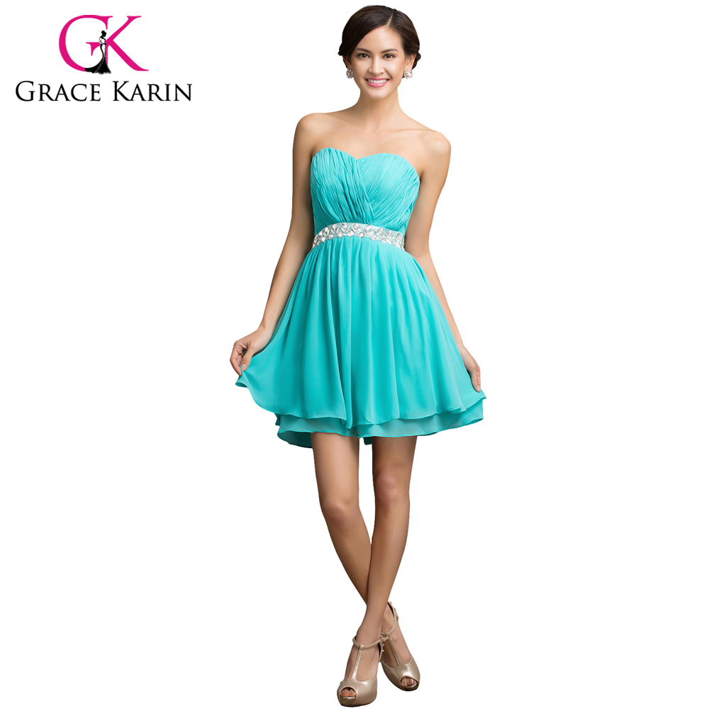 Popular bridesmaid turquoise dresses buy cheap bridesmaid grace karin bridesmaid dresses short chiffon new cheap sweetheart turquoise bridesmaid dress short prom dresses beading ombrellifo Images