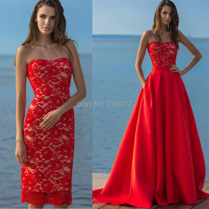 Red Prom Dress Removable Skirt Long Elegant Lace Strapless Imported