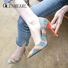 Women Pumps Woman High Heels Female Casual Shoes Sexy Shoes Fashion Slip On Pointed Toe Thin Heels Party Shoes New Arrival DE