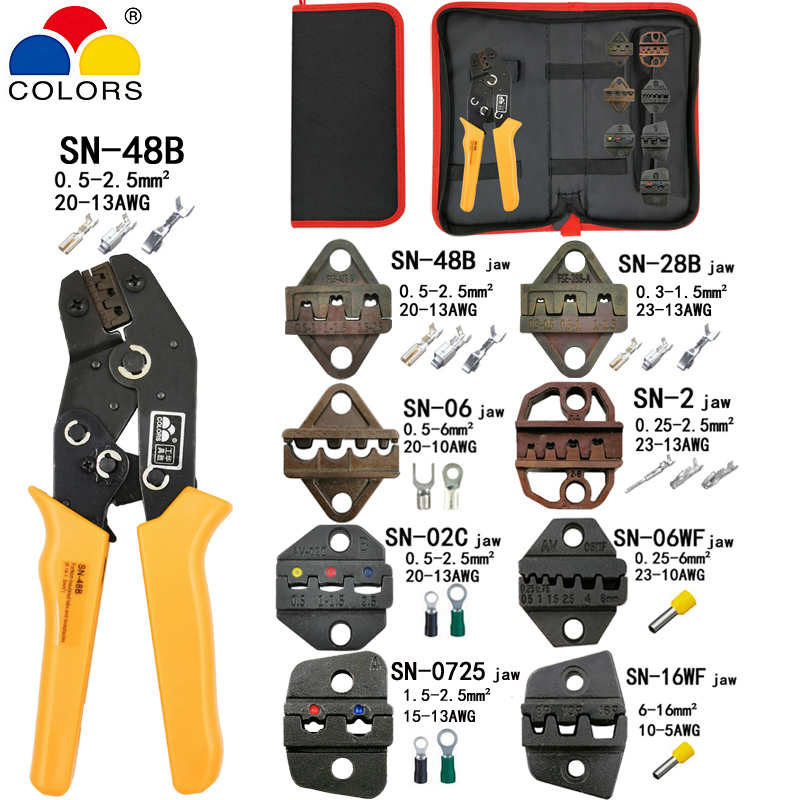 Crimping Pliers SN-48B 7 Jaw For Tab C3 DuPont 2.54 3.96 2510 Pulg/tube/insulation Terminals Kit Bag Electric Clamp Brand Tools
