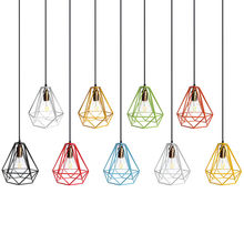 New Lamp Cover Loft Industrial Edison Metal Wire Frame Ceiling Pendant Hanging Light Lamp Lampshade Modern Cage Fixture(China)