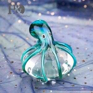 Image 3 - Стеклянные фигурки осьминога H & D ручной работы, подарок на Рождество, день рождения, домашний декор, вес сине зеленой бумаги