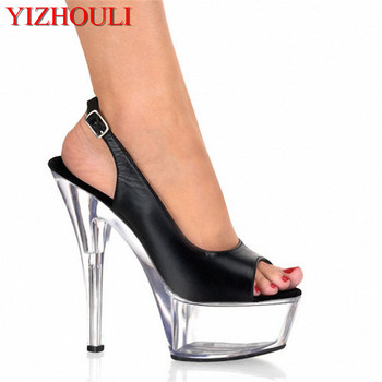 Fashionable PU Leather 15cm High Heel Sandals Platforms Pole Dance/Star/Model Shoes, Wedding Shoes