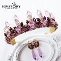 Handmade Flor Roxo/Branco/Rosa de Cristal Coroa de Strass Casamento Acessórios Para o Cabelo Tiaras de Noiva Elegância Cerâmica