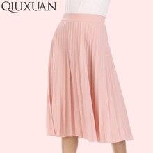 QIUXUAN verano otoño mujeres faldas moda alta cintura plisada Color sólido  tobillo longitud falda oscilación del ef42f483b741