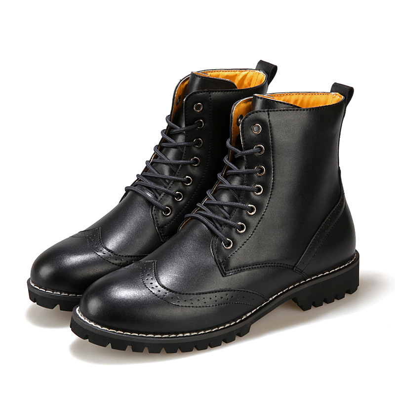 ФОТО Hot Retro Combat boots autumn Winter England-style fashionable Men's short Black shoes military boots