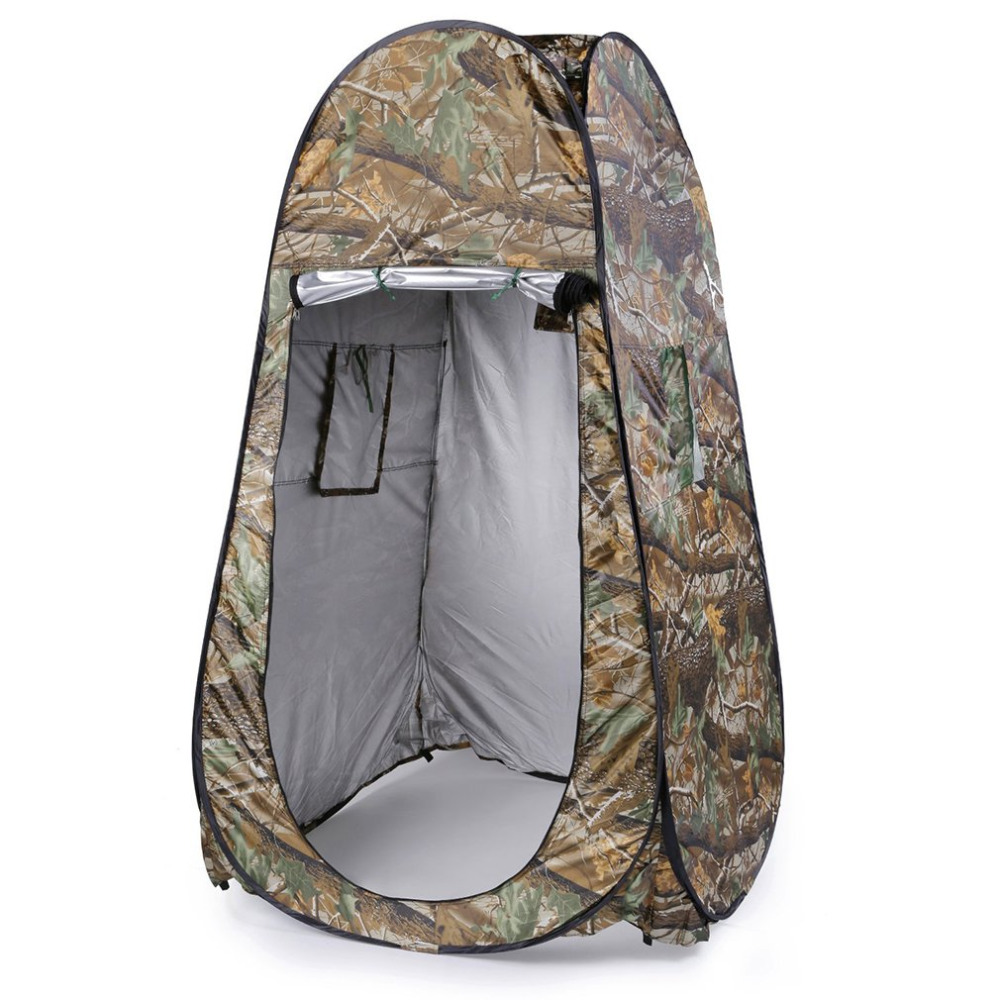 Outdoor Pop Up Camouflage Tent 180T Camping Shower Bathroom Privacy Toilet Changing Room Shelter Single Moving Folding Tents image