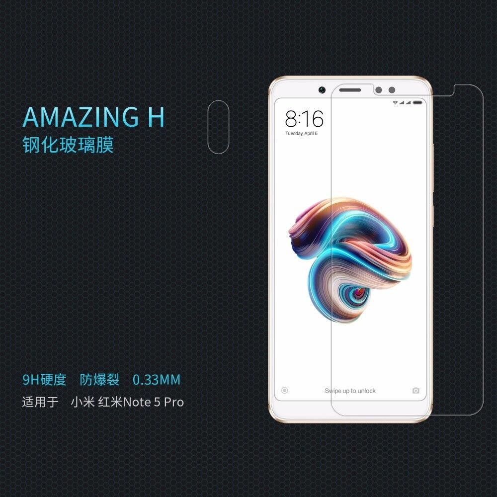 Xiaomi redmi Note 5 Pro Verre de protection Super clear Écran Protecteur NILLKIN Incroyable H Nanomètre Anti-Explosion verre film