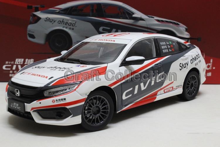 * 1:18 Honda Civic Race Car 2016 10th Generation Diecast Model Show Car Miniature Toys