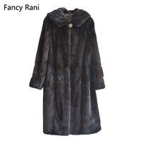 Женское натуральное Норковое Пальто с длинным рукавом, куртка с капюшоном, зимнее теплое цельное пальто из натурального меха, пальто из нат