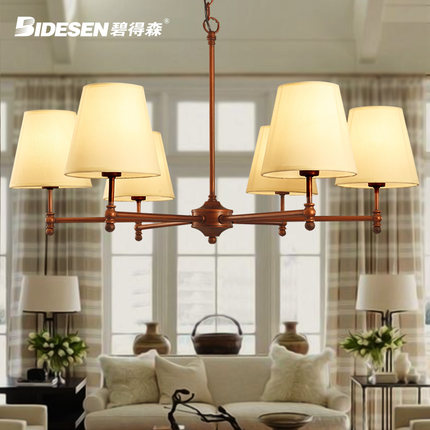 6 Head American Countryside Style Vintage Wrought Iron Pendant Light Cloth Art Foyer Light Cafe Decoration Lamp Free Shipping