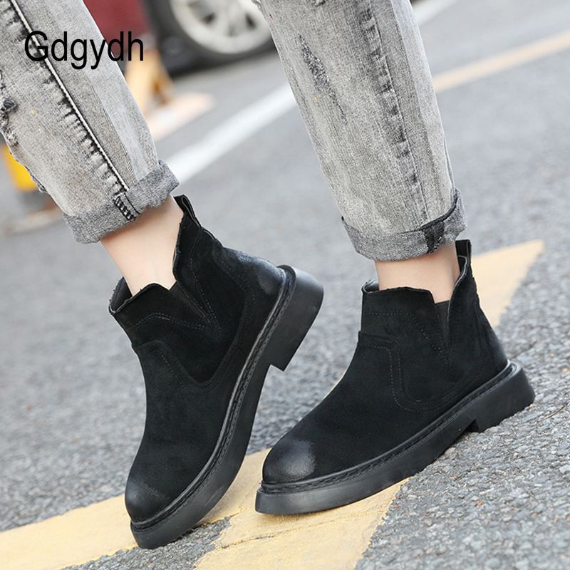 Gdgydh Wholesale Autumn Ankle Boots For Women Square Heels Casual Shoes Good Quality Slip On Platform Booties Comfortable Shoes цены онлайн