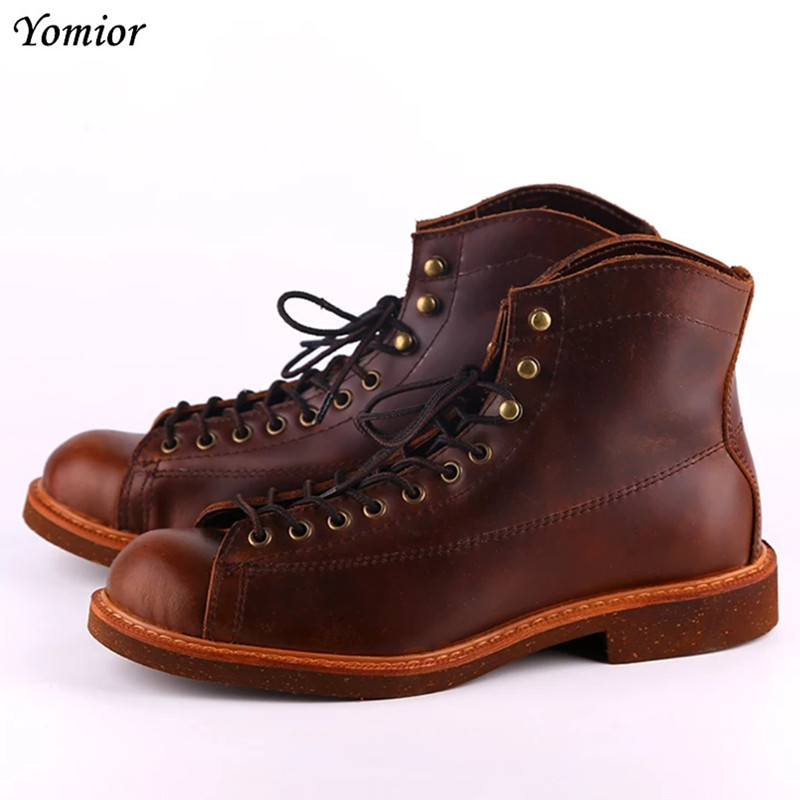 Handmade Genuine Leather Red Boots Men Large Size Casual British Wing Autumn Winter Shoes High Quality Ankle Boots Winter Boots [krusdan]british style men autumn winter boots solid casual genuine leather retro boots falts brand red wine male ankle boot