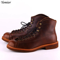 Yomior Handmade Genuine Leather Red Boots Men Large Size Casual British Style Spring Shoes High Quality