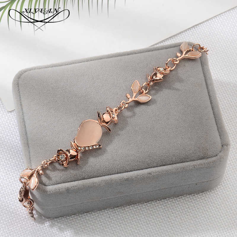 New Korean Creative Hand Ornaments Women Opal Chain Link Bracelet For Women Trend Dazzling Opal Leaves Rose Gold Bracelet Gift