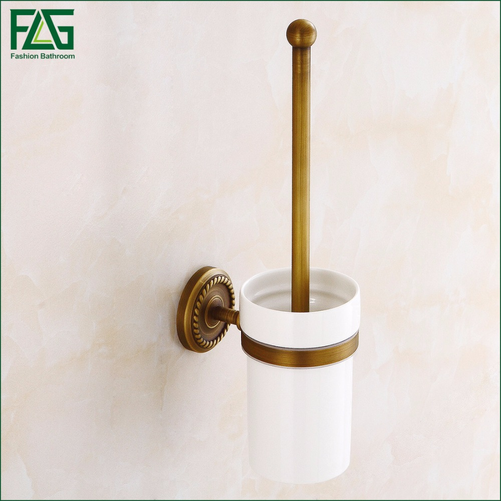 FLG Free Shipping Wholesale and Retail Wall Mount Antique Brass Toilet Brush Holder With Ceramic Cup Bathroom Accessories 80110 free shipping antique brass double cup rack bathroom accessories wholesale 64004b