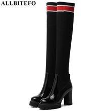 ALLBITEFO Botas de piel auténtica + lana tejida para mujer, botines de tacón alto hasta la rodilla, para Otoño e Invierno