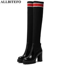 ALLBITEFO 本革 + ニットウールの女性高品質の女性のファッション高ヒールの女性のブーツ秋冬