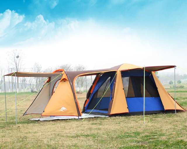 High quality double layer 3-4person one hall one bedroom waterproof windproof camping tent