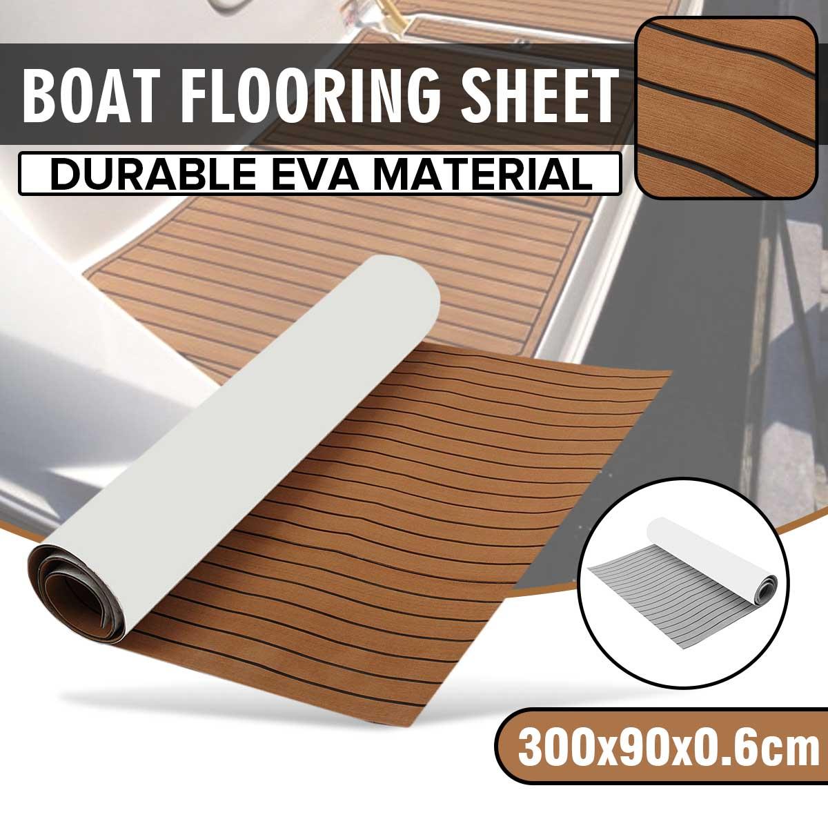 1 rouleau 3000x900mm 6mm auto-adhésif EVA mousse bateau Yacht RV caravane Marine plancher Faux teck bateau platelage feuille plancher décor tapis