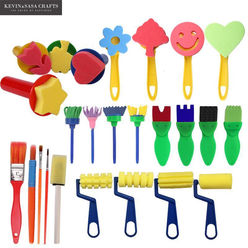 25In1 Sponge Brush Set For Kids Painting Watercolor Brush Art Supplies Great Brush Set Wooden Body With Sponge Hair School Tools sponge brush with handle