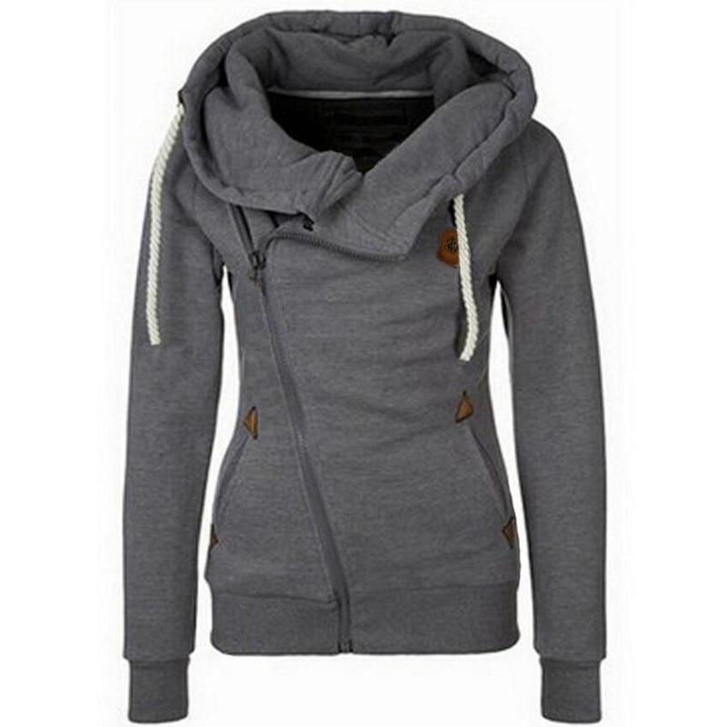 Novo prihodov jeseni zimske trdne ženske kapucar majica zipper - Ženska oblačila