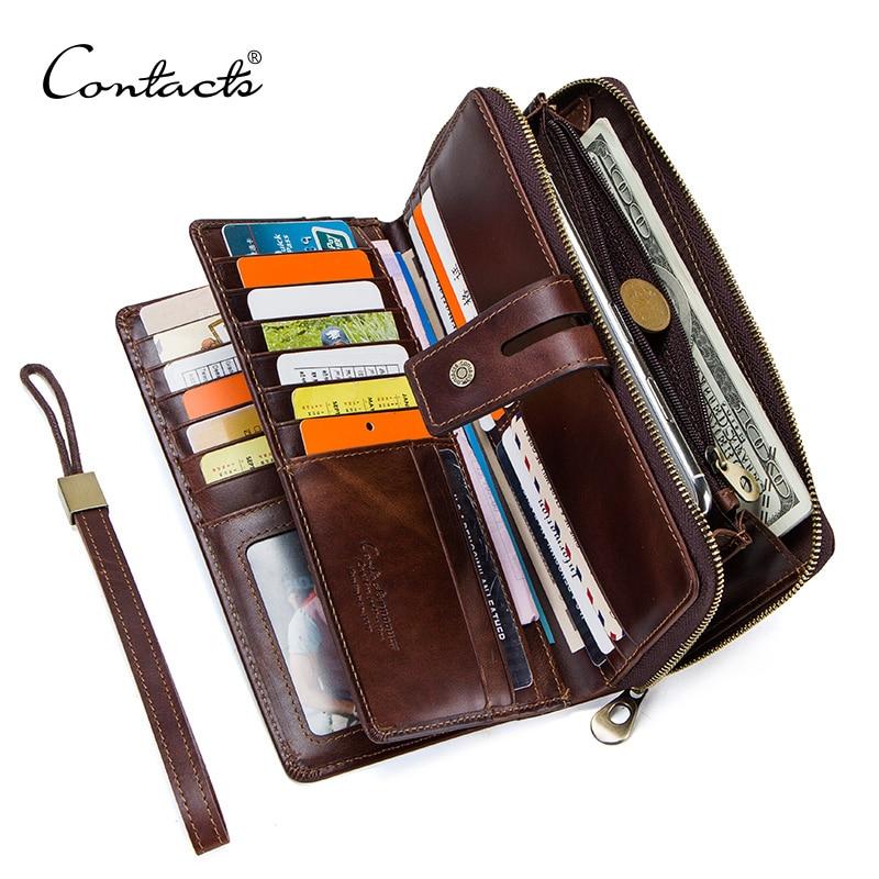 CONTACT S crazy horse leather men s wallet long clutch card holders for men cowhide portomonee