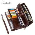 CONTACT'S Кожаный кошелек- портмоне для мужчин с отделением для карт мужские длинные кошельки с ремешком карман для телефона 2019