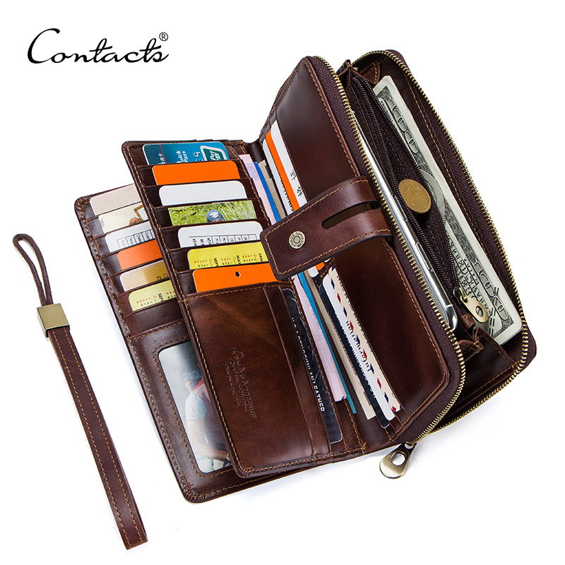 CONTACT'S Crazy Horse Leather Men's Wallet Long Clutch Card Holders For Men Cowhide Portomonee Walet Man's Purse Carteira Male