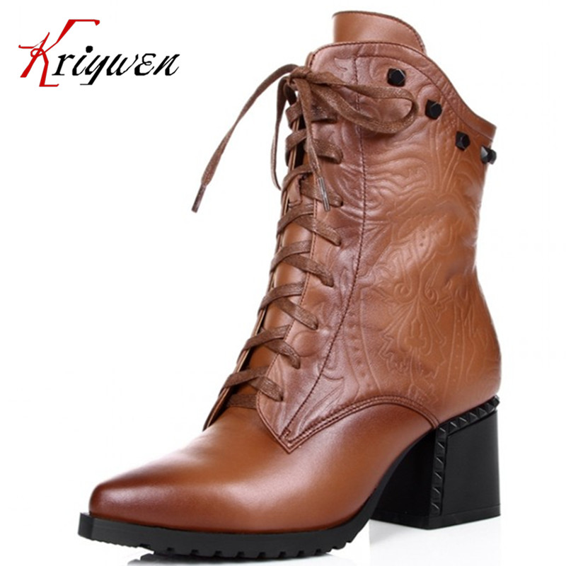 2015 new arrive fashion women motorcycle winter boots Genuine leather Black brown ankle boots for women shoes size 34-42 drop shipping 2015 fashion arrive sexy full grain leather lady high heels motorcycle boots for women genuine leather ankle boots