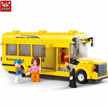 Children Educational Toy!! 218pcs/set School Bus Building Blocks Enlightenment Puzzle Toys Best Birthday Gifts For Kids