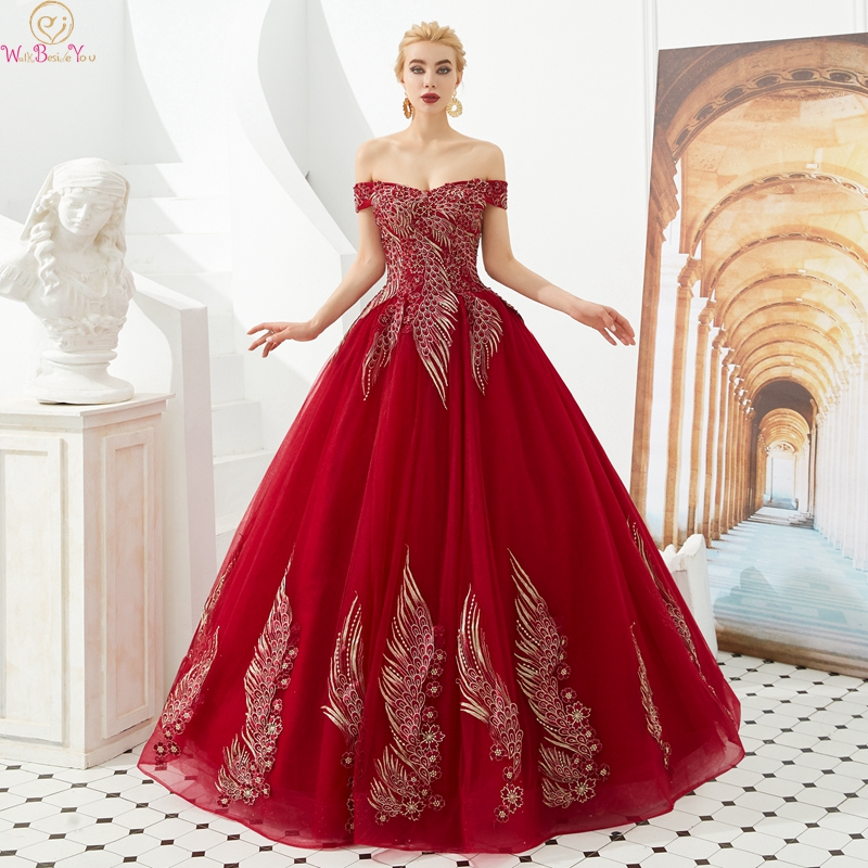 Elegant Wine Red Quinceanera dress 2019 Boat Neck Off Shoulder Ball Gown Appliqued Lace Up Long Prom Formal Tulle Robe De Soiree