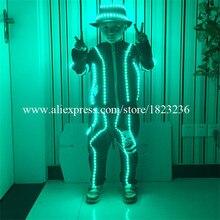 Подарок на день рождения с подсветкой Детская робот костюм Костюмы осветить мигающий светодиод костюмы платье для детского дня