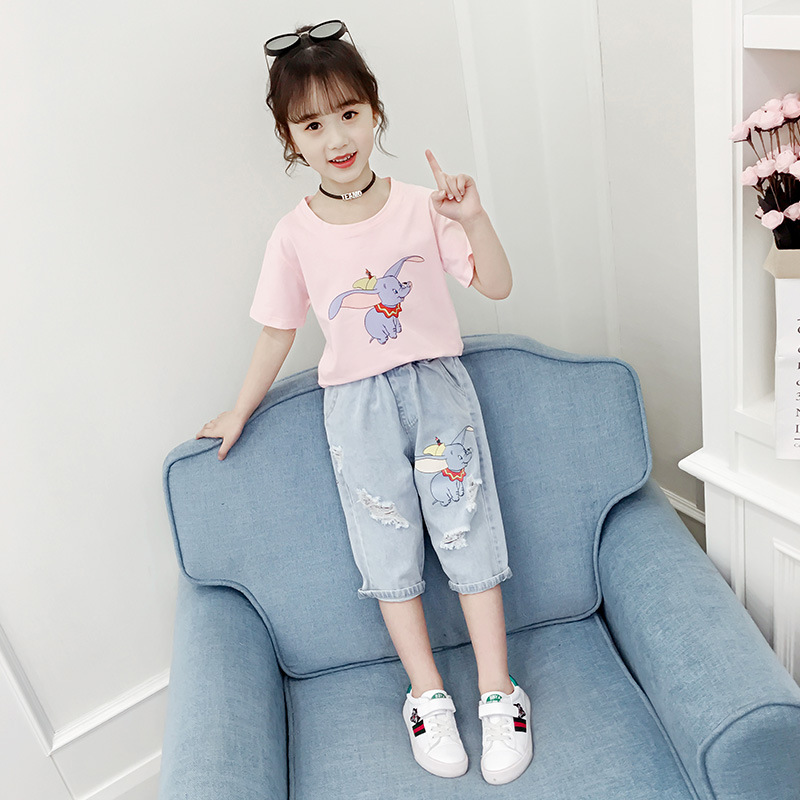 Girls Summer Outfits  2019 Girl Clothes Set Boutique Kids Clothing Toddler Children Dumbo T-shirt + Denim Capri pants