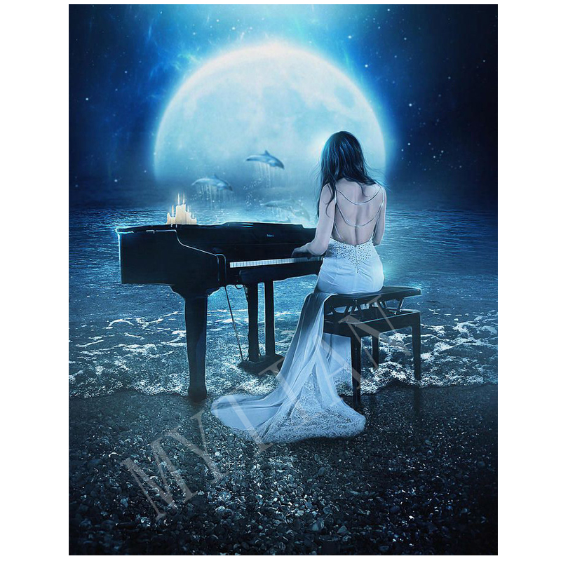 """""""playing The Piano Woman & Dolphins """"embroidery Pattern Full Square/round 5ddiy Diamond Painting 3d Cross Stitch Mosaic Stickers High Resilience"""